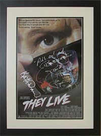 Original poster from the 1988 movie They Live, signed by the stars Keith David, Roddy Piper and Meg Foster