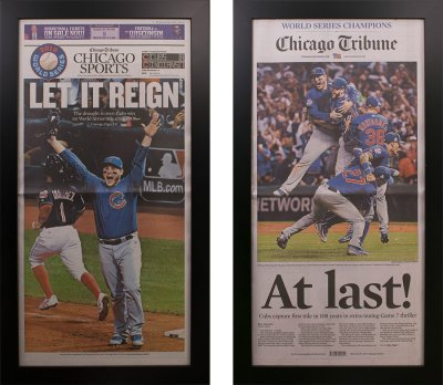Two Chicago Cubs 2016 World Series Tribune Newspaper Frames