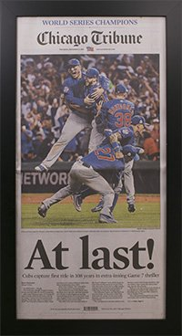 Chicago Cubs 2016 World Series Tribune Newspaper Frame
