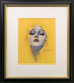 Framed Rolf Armstrong pin-up Reprint Blond Lady
