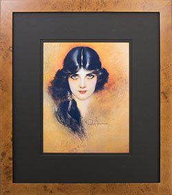 Framed Rolf Armstrong pin-up Reprint Lady w/Black Hair