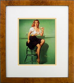 Framed Gil Elvgren (Cold Front 1958) Lady w/Ice Cream