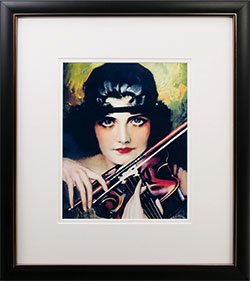Framed Rolf Armstrong pin-up Reprint lady w/Violin