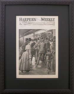 Framed Vintage 1890 Harpers Weekly New York City Elevated Subway