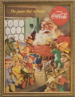 Framed 1953 Coca Cola Ad. Santa - The Pause That Refreshes.