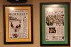Boston Bruins Stanley Cup and Boston Celtics NBA Championship Newspaper Frames
